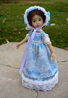 """SOLD """"Clouds in the Sky"""" Regency Dress, Clothes for 13"""" Effner Little Darling -Lumi #ClothingAccessories"""