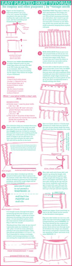 How to makRandom Sewing Tips Easy Pleated Skirt Tutorial by *cafe-lalonde on deviantART Pleated Skirt Tutorial, Pleated Skirt Pattern, Circle Skirt Tutorial, Skirt Pleated, Sewing Hacks, Sewing Tutorials, Sewing Patterns, Sewing Tips, Sewing Ideas