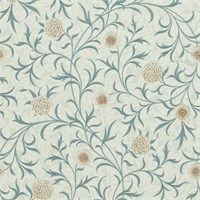 The Original Morris & Co - Arts and crafts, Scroll reflects William Morris's fascination with medieval book illustration and can be traced to the 1871 wallpaper design. Smaller in scale and more delicate than many of his other designs the gently meandering layout of leaves and marigold flowers on a clean background comes in a range of rich Morris colours.