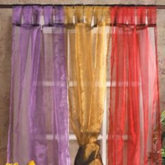 Sheer Silky Organza Curtain Panel, CoHabitat - India Style Decor