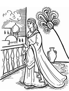 queen esther in the palace coloring page