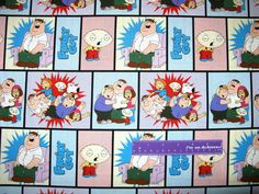 Family Guy Cartoon Peter Lois Brian Stewie Block Cotton Fabric By The Half Yard by DaMommasTextiles on Etsy