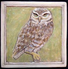 Decorative ceramic owl tile