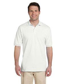 Men's 5.6 oz., 50/50 Jersey Polo with SpotShield: WHITE - M