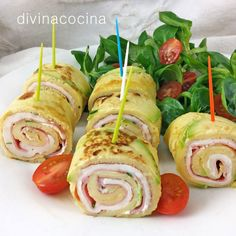 rollitos-de-tortilla-pinchos-bandeja Cold Lunches, Appetisers, Fun Cooking, Easy Snacks, Cravings, Food And Drink, Low Carb, Party, Meals