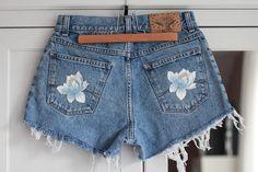 Denim Shorts High Waisted Jeans Vintage Destroyed Ripped Light
