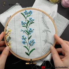 Embroidery Blue Flowers - Embroidery for Beginner - Kanaviçe - Cross Stitch Crewel Embroidery Kits, Flower Embroidery Designs, Simple Embroidery, Embroidery Patterns Free, Beaded Embroidery, Cross Stitch Embroidery, Beginner Embroidery, Sweater Embroidery, Japanese Embroidery