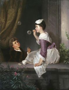 Girl blowing soap bubbles by pierre mignard fabric in for Dujardin 817