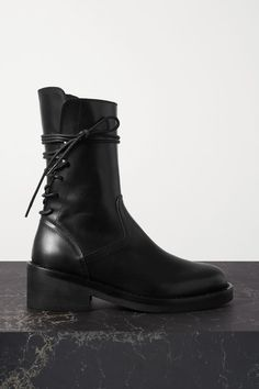Ann Demeulemeester - Lace-up Leather Ankle Boots - Black Shoes Boots Ankle, Black Ankle Boots, Leather Ankle Boots, Combat Boots, Black Leather, Ann Demeulemeester, Alexander Mcqueen, Dries Van Noten, Witch Shoes