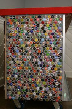 Tiled bottle caps on a rolling bar.