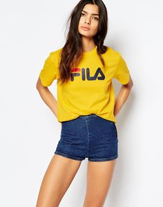 Image 1 of Fila Oversized Boyfriend T-Shirt With Front Logo
