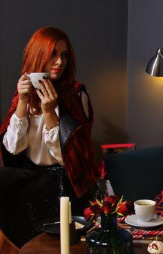 Andrada wearing Dani Ignat red vest and skirt and Diana Bobar silk white blouse @andradabibi