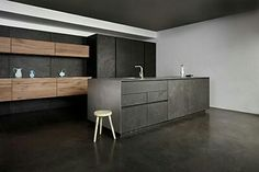 Moderne keuken - zwart - bruin - minimalistisch
