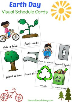 Earth Day Visual Schedule Printable, Autism printables, Free Visual schedule, Perfect for special needs children and kids that do best with a visual plan. Earth Day Activities, Spring Activities, Activities For Kids, Learning Activities, Teaching Resources, Visual Schedule Printable, Schedule Cards, Free Printables, Kindergarten Themes