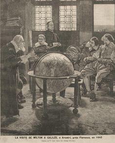 Le #poète anglais #Milton (1608-1674) s'entretenant avec #Galilée (1564-1642), emprisonné pour avoir démontré le mouvement de la #terre et l'immobilité du #soleil. Après autorisation du Saint-Office, Milton voyage jusqu'à Florence où demeure l'#astronome, dans sa villa d'Arcetri, placé sous la surveillance du tribunal de l'Inquisition. Il y restera enfermé jusqu'à sa mort entouré de ses disciples. On lui doit des découvertes célèbres comme les lois de la pesanteur, le télescope #numelyo…
