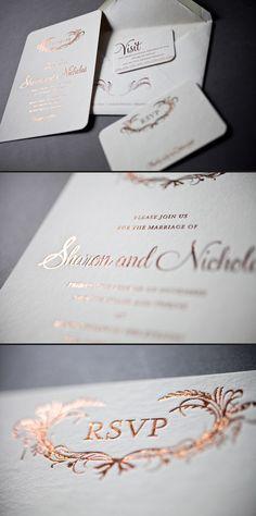 Elegant foil wedding invitations in copper shine.