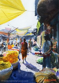Ramesh Jhawar 'Flower Market, Kolkata' Watercolor, 14 x 10 inches Watercolor Architecture, Watercolor Landscape, Landscape Paintings, Composition Painting, Art Studio Organization, Art Drawings Beautiful, Nature Drawing, Watercolor Artwork, Urban Sketching