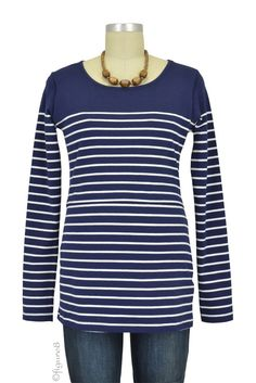 Nautical Long Sleeve Striped Nursing Top in Navy Stripes. Please use coupon code NewProducts to receive 15% off these items. To receive the discount, please place your order by midnight Monday, April 6, 2015