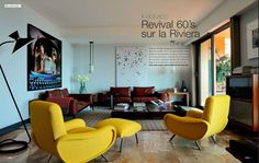 Yellow Zanuso chairs in Monaco home