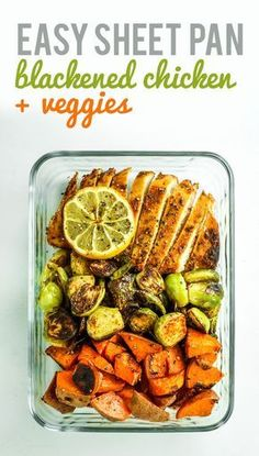 Prep Clean Eating Blackened Chicken Sheet Pan Dinner with Sweet Potatoes – This blackened chicken sheet pan dinner with sweet potatoes and brussels sprouts is easy, healthy, and quick. Perfect for weeknight dinners and meal prep! Lunch Recipes, Dinner Recipes, Cooking Recipes, Healthy Recipes, Sauce Recipes, Cooking Corn, Kid Recipes, Cooking Games, Healthy Dishes