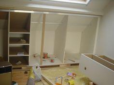 Under eaves closet Loft Storage, Built In Storage, Bedroom Storage, Bedroom Cupboard Designs, Bedroom Cupboards, Attic Closet, Attic Conversion, Attic Rooms, Spare Room