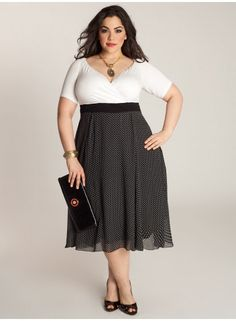 Curvy Fashionista Black Polka Dot Dress Rita Vintage Polka Dot Dress