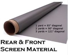 "65"" Diagonal Rear Projection Material Rear Projection Screen (36"" x 55"") by Rosco. $34.95. 1 yard by 55"" wide grey high quality rear/front projection material that we use in our rear projection unit. You can easily integrate it into your own DIY projects. It has a glossy side for rear projection and a matte side for viewing or front projection. It will work with all projectors and can be cut to customize into 4:3, 16:9, 16:10 or any shape. It is perfect for the home theater pr..."