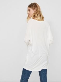LOOSE FIT 3/4 SLEEVED TOP, Bright White, large