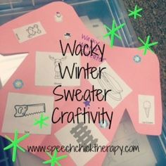 You've heard of tacky Christmas sweaters but how about Wacky Winter Sweaters?!  This fun little articulation activity gives the kids the ability to design their own sweater!  Either use the sweater template or cut your own sweaters from construction paper and glue pictures, add stickers, glitter .etc to make them wacky!Sounds included: l,r,s,sh,ch,k,g,f and blends