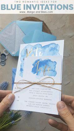 Blue wedding invitations idea - two ideas for #glamourbrides #weddingideas #weddinginvitations #bluewedding #babybluewedding #summerweddingideas