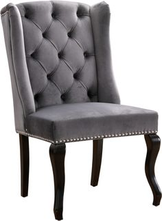 For a glam twist on tradition, the Meridian Furniture Inc Suri Tufted Dining Side Chair with Nailhead Trim - Set of 2 is accented by polished nail. Gray Dining Chairs, Upholstered Dining Chairs, Dining Chair Set, Side Chairs, Chair Upholstery, Chair Cushions, Meridian Furniture, Elegant Dining Room, Nail Head