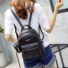 Cheap Fashion PU Girl's Black White Small Bag Snap Rivets Mesh Lingge Mini Backpack For Big Sale! Backpack For Teens, Small Backpack, Mini Backpack, Backpack Bags, Leather Backpack, Travel Backpack, Stylish Backpacks, Cute Backpacks, Girl Backpacks