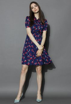 Cherry the Grace Chiffon Dress in Navy - New Arrivals - Retro, Indie and Unique Fashion
