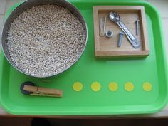 Magnet Hide-and-Seek - hide magnetic materials in barley, magnet clipped to clothespin, stickers for checking to make sure all objects are out (for younger kids, bigger (un-choke-able) magnetic objects, magnet wand instead of clothespin w/magnet, and probably not stickers)
