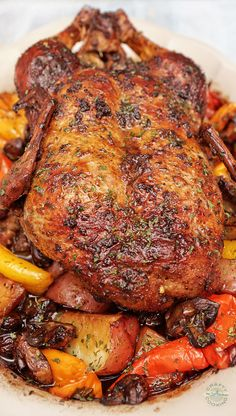 Roasted Duck in Wine with Potatoes, Peppers, and Mushrooms! Amazingly Delicious and Beautifully served dish for any special occasion! Roasted Duck Recipes, Meat Recipes, Chicken Recipes, Dinner Recipes, Cooking Recipes, Healthy Recipes, Crispy Duck Recipes, Whole Duck Recipes, Goose Recipes