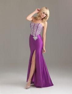 Satin Sweetheart Strapless Neckline Mermaid Prom Dress with Beaded Bodice