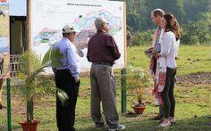 The couple were given information about the sanctuary at Kaziranga National Park, in Assam, India, on the fourth day of their royal tour.