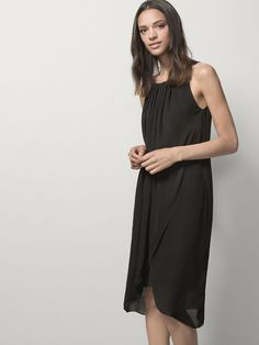 DRESS WITH DRAPED FRONT 100% SILK