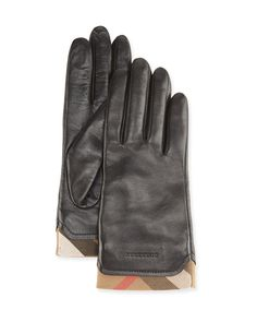 Burberry Tech Leather Gloves with Check Trim | Black |  These Burberry gloves offer impeccably classic style in black leather, a check stripe adding an iconic accent. Type and text without sacrificing your fingers to the cold.