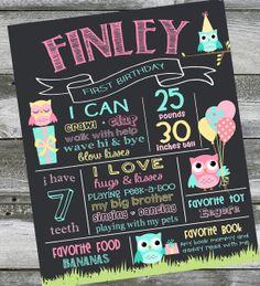 First Birthday Chalkboard Poster Sign  Owls  by PrincessSnap, $19.00