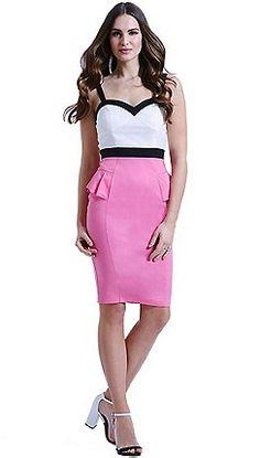 Paper Dolls - White, pink and black peplum dress