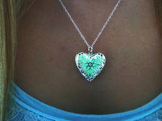 SALE  Glow in the Dark Heart Locket Necklace  by timelessmaiden