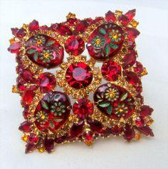 "Huge (3 1/4"") Red Juliana - D&E Brooch Carved Flower Stones Rhinestones $264. eBay 6/16"