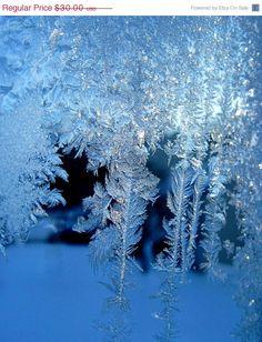 Photograph Frost On Window Pane Sapphire Blue by LovesParisStudio, $24.00