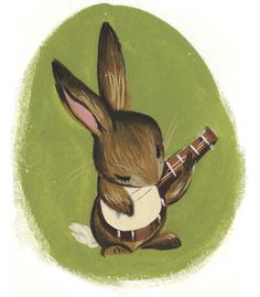 Would make a cute tattoo ~Bunny plays banjo~ by Wednesday Kirwan #illustration