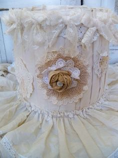 Hand made lampshade recycled cream muslin by AnitaSperoDesign, $175.00