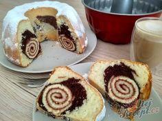 Jogurtová bábovka s roládou | NejRecept.cz Sweet Desserts, Sweet Recipes, Bunt Cakes, Amazing Cakes, Cake Pops, Nutella, Sushi, Cheesecake, Muffin