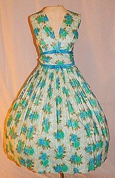 Vintage 50's Blue Green ROSE Print Cotton Bows Cocktail Party Dress