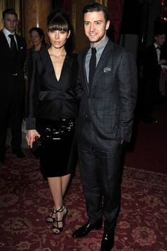 Jessica Biel in Tom Ford at the Tom Ford show, with husband Justin Timberlake