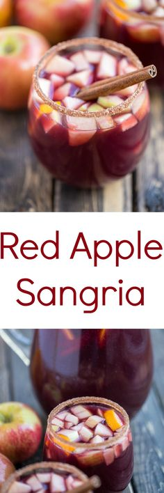 Delicious red apple sangria. Made with apple cider, red wine, brandy, orange juice,cinnamon sticks, and a cinnamon sugar rim.